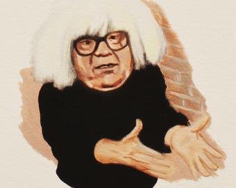 FRANK REYNOLDS, Danny Devito, Always Sunny, Celebrity Portrait, Tv Show Art, Ongo Gablogian, Giclee Print of Original Gouache Painting