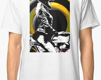 Inished ProductionsRacer inspired classic retro bespoke urban Motorcycle art T-Shirt Melimoto
