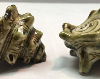 Vintage Mid-Century Ceramic Conch Shell Salt & Pepper Shaker Set