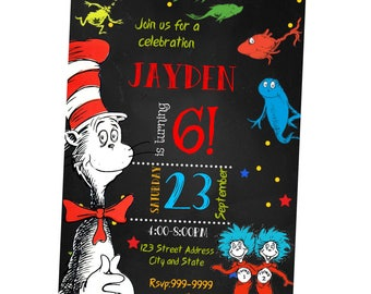 INSTANT DOWNLOAD - Dr Seuss Invitation - Dr Seuss Birthday Invitation - Dr Seuss - Invitation - Birthday Invitation