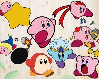Kirby Svg, Kirby Cutfiles: Svg, Dxf, Eps, Yoshi svg, Ice Kirby svg for Cricut, Silhouette. Kirby clipart, fighter and bomber kirby svg