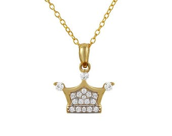 Gold Crown Princess Pendant