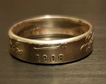 1908 Indian Rupee Coin Ring
