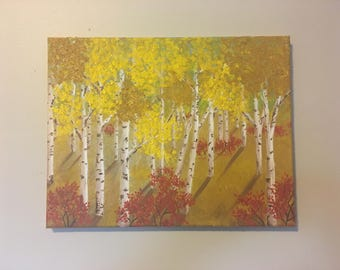 Birch Trees in Autumn 14x11 Oil Painting