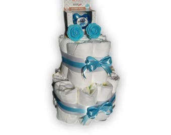 Diaper cake-incl. Bibi pacifier-as a gift wrapped-maternity gift-baby shower-2 coats/layers-blue-pamper