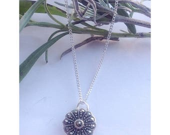 Upcycled Art Deco marcasite pendant necklace Sterling silver