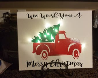 Christmas tree truck with working lights on canvas