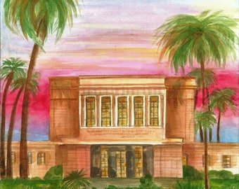 Mesa Arizona  LDS Temple Watercolor Print