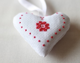 Cross Stitch Lavender Heart