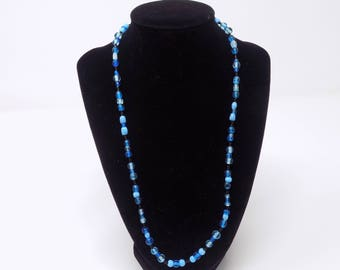 Black and blue beaded necklace