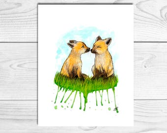Illustration baby foxes, baby fox, print, children's decor, Watercolour prints, nursery decor, A4, A5, A6