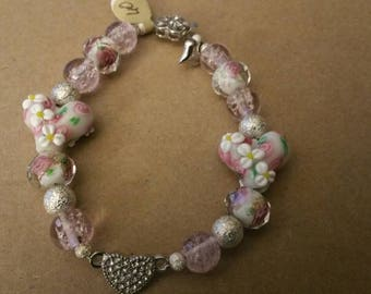 Handmade lamp work heart beads,spring pink with heart box clasp  (60)