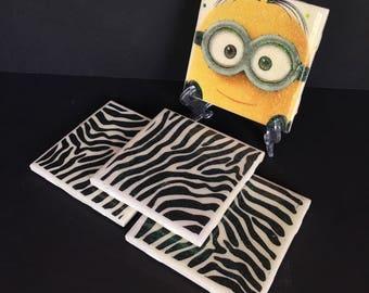 Set of 4 Decorative Ceramic Tile Coasters