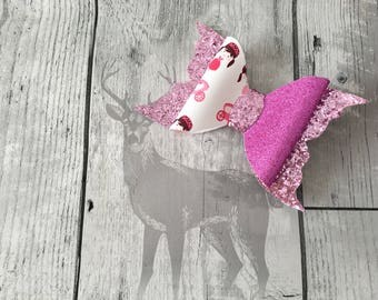 Handmade - Pink Sparkle Glitter Princess Bow - Pink Glitter Bow -Luxury Party Bow