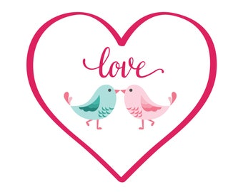 Valentine's SVG Love Birds svg Heart svg Cut file birthday svg Cutting files SVG Dxf Eps Ai Pdf Png Jpg Files for Cricut Silhouette and more