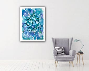 Original Contemporary Abstract Art in Shades of Blue and Turquoise