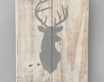 Deer silhouette pallet wood rustic wall hanging
