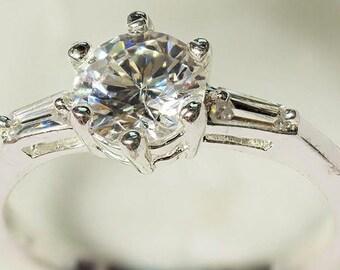 White Zircon Ring in Sterling Silver 925 Setting, Size 7.5, Zircon Gemstone, Girlfriend Gift