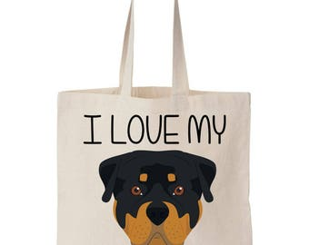 I Love My Rottie Rotweiler Canvas Tote Bag