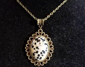 "18"" Dalmation Stone cabochon necklace"