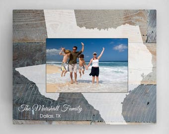 Personalized Rustic Wood State Picture Frame - Family Vacation Photo Frames - State Picture Frames - Family Picture Frames - Family Frames