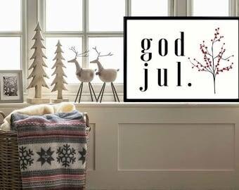 God Jul,Juldekoration,Swedish Wall Art,Swedish Decor,Svenska,Swedish  Christmas