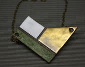 Gold & Mossy Green pendalnt / Minimalist modern ceramic / Ceramic pendant / Modern ceramic jewelry / Minimal jewelry / Square Necklace