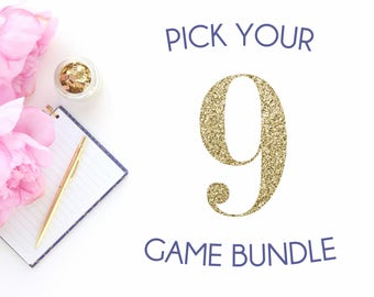 Pick any 9 baby shower games in my shop | Baby shower game bundle | Navy blue shower games package | It's a boy blue theme shower bundle