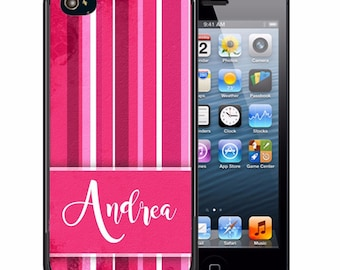 Personalized Rubber Case For iPhone X, 8, 8 plus, 7, 7 plus, 6s, 6s plus, 5, 5s, 5c, SE - Hot Pink Stripes