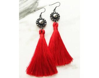 Red Tassel Earrings, Tassel Earrings, Red Silky Tassel Earrings, Tassel Statement Earrings, Red and Black Earrings, Dangle Earrings, Fringe