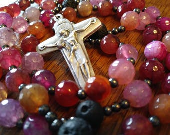 Essential Oil Diffuser Rosary, Fancy Agate Bead, Semi-Precious, Gemstone, 5 Decade Rosary, Flex Wire