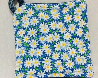 Upcycled Denim Potholder Flowers Daisies