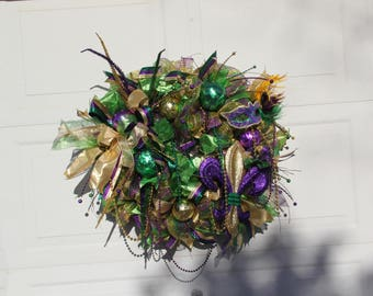 Mardi Gras Wreath, Fat Tuesday Wreath, Mardi Gras Wreath With Fleur De Lis , Mardi Gras Front Door Wreath, Mardi Gras Door Wreath