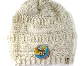 Slouchy hat, cream slouchy hat, crochet slouchy beanie, cream crochet beanie
