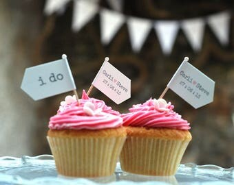 Wedding cake flags - Wedding food picks - Personalised Wedding cupcake food flag decorations - Wedding toppers - Heart cake flags -