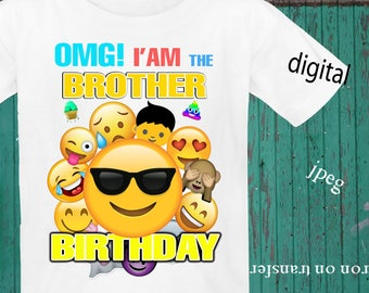 INSTANT DOWNLOAD, Emoji, Iron On Transfer, Emoji Birthday Shirt, Emoji Transfer, Emoji Party, Digital Design, JPEG, Brother