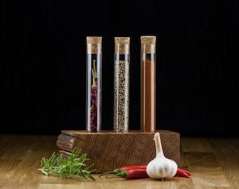 Test tube wooden vase - Test tube spice rack - Live edge oak spice rack - Solid wood table decoration - Live edge table decoration