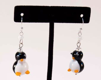 March of the Penguins - Black White Glass Penguin Earrings