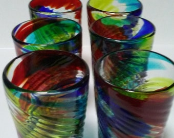 Mouth blown water glasses