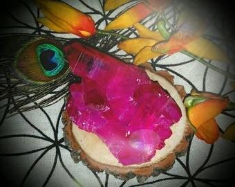 Magenta flame titanium aura crystal quartz cluster
