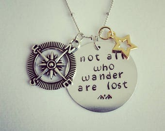 Hand stamped inspirational necklace 30 inch chain