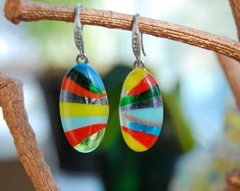 Fused glass earings, Fusing earings, Colorful earings, Jewelry, Glass jewelry, Glass earings, Handmade jewelry, Gift for woman.