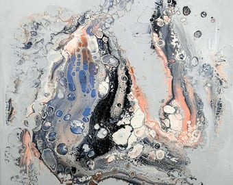 """Abstract fluid acrylic painting """"Morning frost ll"""""""