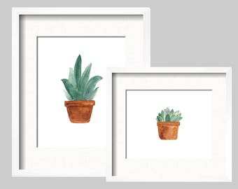 Set of 2 Kayla Plants - Watercolor Print Digital Download