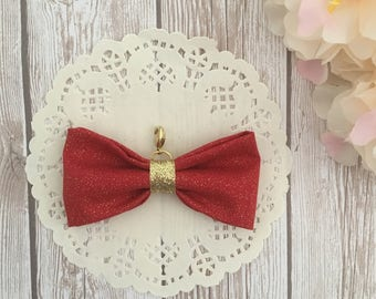 Red and gold traveler's notebook bow charm