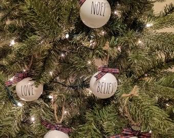 Peace, Love, Joy, Noel, Believe, Rustic Ornaments, Farmhouse Christmas, Christmas Ornaments, Family Christmas, Holiday 2017