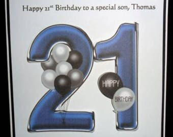 Personalised Handmade Balloons 21st Birthday Card Son Grandson Godson Nephew Step Son
