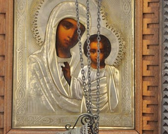 Antique Russian icon, silver 84  , 1899