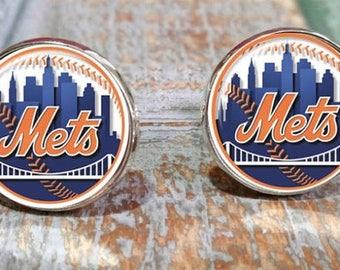 New York Mets inspired baseball Cufflinks