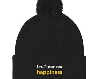 Create your own happiness Pom Pom Knit Cap